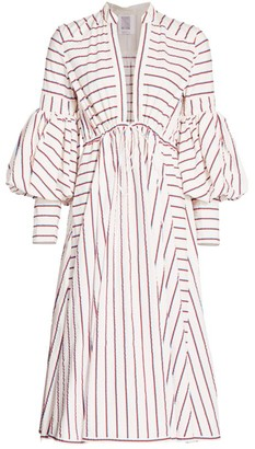 Rosie Assoulin Lantern-Sleeve Striped Drawstring Poplin Dress