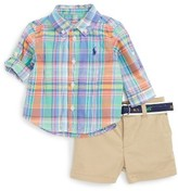 Ralph Lauren Infant Boy's Madras Plaid Shirt & Shorts Set