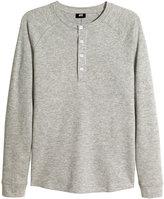 H&M Henley Shirt - Gray melange - Men