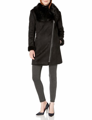Calvin Klein Women's SHRARLING with ASYTMETRICAL Zipper Detail and Faux Fur Trimmed Collar