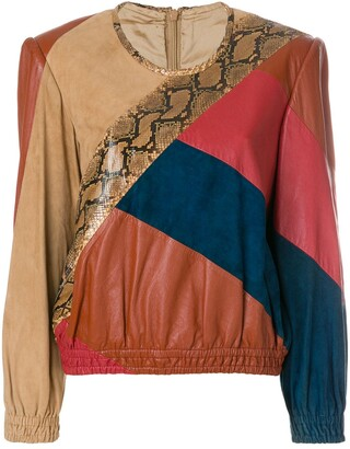 Valentino Pre Owned 1980's Colourblock Leather Blouse