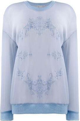 Stella McCartney mesh floral embroidery sweatshirt