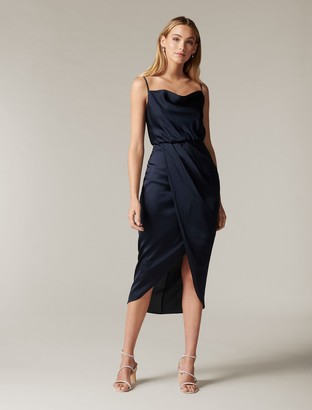 Forever New Elise Cowl-Neck Midi Dress - Navy - 10