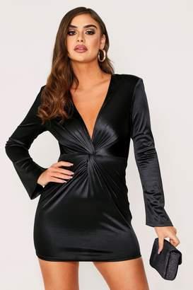 boohoo Flared Sleeve Plunge Dress