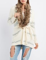 Charlotte Russe Faux Fur-Collar Aztec Belted Cardigan