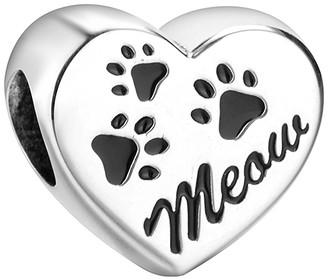 Maya Women's Jewelry Charms Silver+Black - Sterling Silver 'Meow' Paw Print Heart Charm