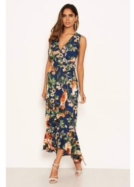 AX Paris Women's Floral Wrap Midi Dress