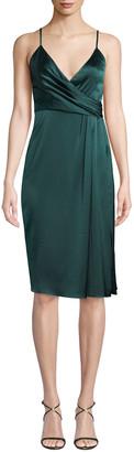 Jill by Jill Stuart Satin Draped Sleeveless Wrap Dress