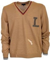 Lanvin Distressed Detail Sweater From Camel Distressed Detail Sweater With V-neck, Long Sleeves, Logo At The Chest And Ribbed Cuffs And Hem.
