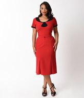 Stop Staring Plus Size Red & Black Dot Sleeved Railene Wiggle Dress