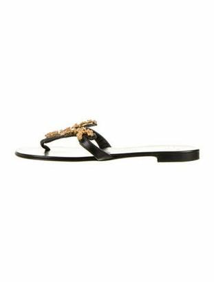 Giuseppe Zanotti Leather T-Strap Sandals Black