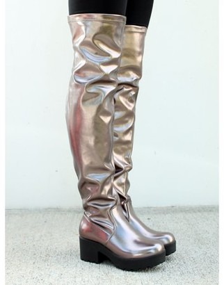 Nature Breeze Lug Sole Women's Thigh HIgh Boots in Pewter