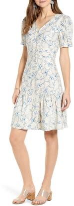 Rachel Parcell Flirty Easy Linen Blend Shirtdress