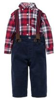 Little Me Baby's Three-Piece Cotton TopJeans & Suspenders Set