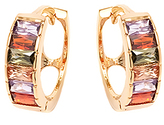 Sweet & Soft Rainbow Crystal & Gold Huggie Earrings
