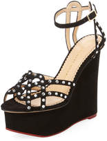 Charlotte Olympia Women's Young At Heart Suede Platform Wedge
