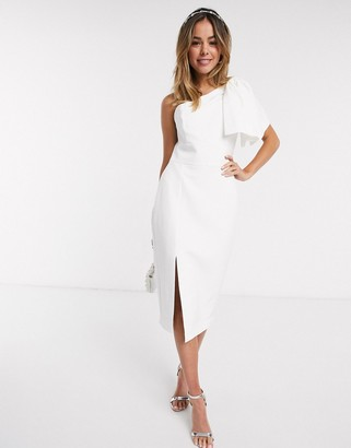 Forever New bow shoulder midi dress with thigh split in white