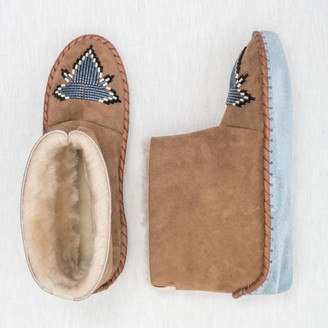 The Small Home - Beaded Sheepksin Boots Slate Blue - 42