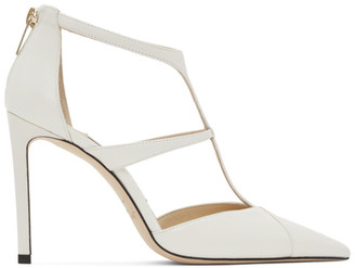 Jimmy Choo Off-White Nappa Saoni 100 Heels