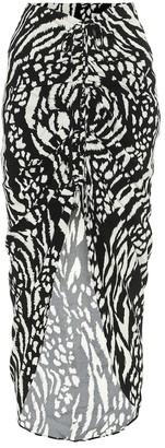 Veronica Beard Ari asymmetric printed crepe skirt