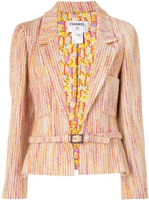 Chanel Pre Owned 2001 Vertical Stripe Belted Blazer