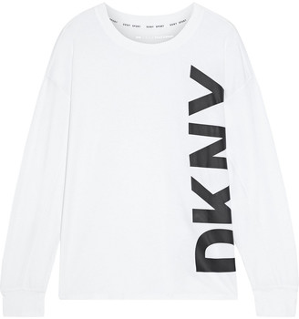 DKNY Printed Stretch-cotton And Modal-blend Jersey Top