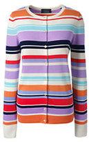Lands' End Women's Petite Supima Cotton Stripe Cardigan Sweater-Black Stripe