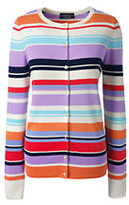 Lands' End Women's Tall Supima Cotton Stripe Cardigan Sweater-Frosted Lavender Multi Stripe