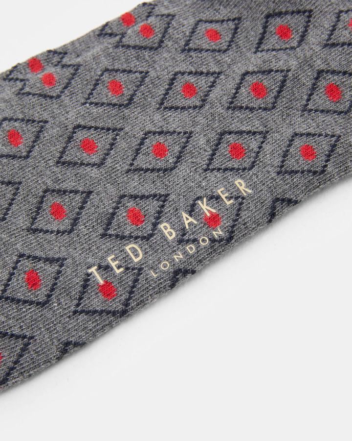 Ted Baker Diamond print organic cottonblend socks