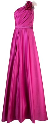 Marchesa Notte One-Shoulder Draped Gown