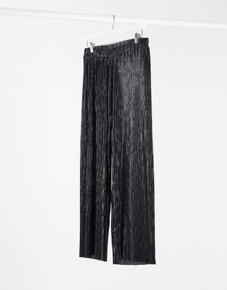 Pimkie plisse wide leg trouser in black