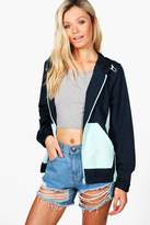 boohoo Cara Colour Block Rain Mac navy