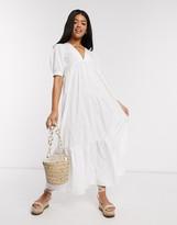 Asos Design DESIGN cotton poplin v front v back tiered maxi dress in white