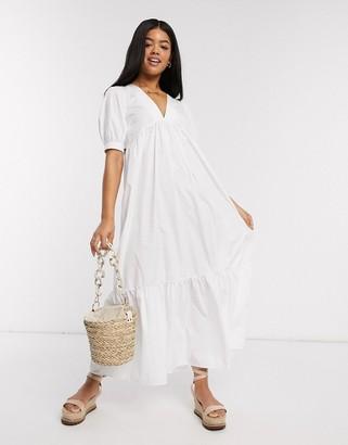 ASOS DESIGN cotton poplin v front v back tiered maxi dress in white