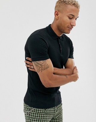 Asos DESIGN muscle fit polo in rib in black