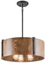 Kichler Lighting 42644DBK Elbur - Three Light Convertible Pendant, Finish with Natural Maple Shade
