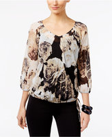 INC International Concepts Petite Printed Peasant Top, Only at Macy's