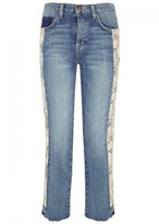 Current/Elliott The Uneven Floral-print Cropped Jeans