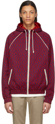Gucci Red and Blue G Rhombus Zip-Up Hoodie