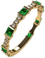 Nana Silver Stackable Ring Princess Cut Yellow Gold Plated - Size 6 - Simulated Emerald - May Birthstone