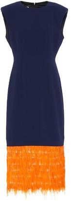 Dries Van Noten Feathered crepe midi dress