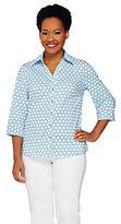 Denim & Co. Status Print Y-Neck Button Front Woven Shirt