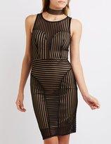Charlotte Russe Shadow Stripe Bodycon Dress