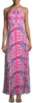 Laundry by Shelli Segal Halter-Neck Plisse-Skirt Gown, Chrome