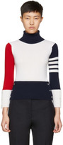 Thom Browne Tricolor Cashmere Funmix Four Bar Turtleneck