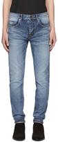 Saint Laurent Blue 'Université' Low-Waisted Skinny Jeans