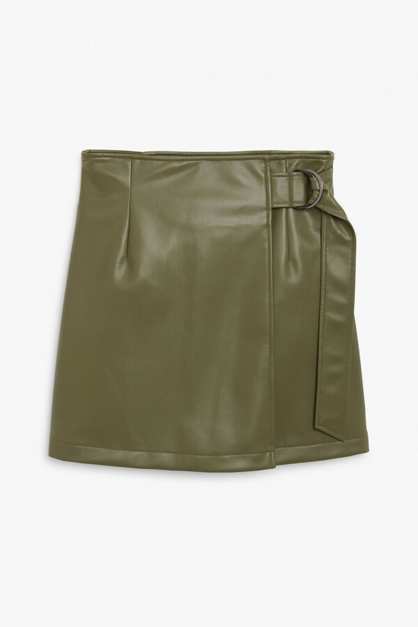 Monki Faux leather wrap skirt