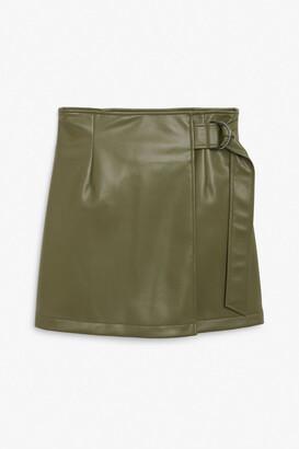 Monki Faux leather wrap skirt