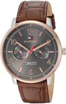 Tommy Hilfiger Men's 'Sophisticated Sport' Quartz Stainless Steel and Leather Casual Watch, Color:Brown (Model: 1791357)