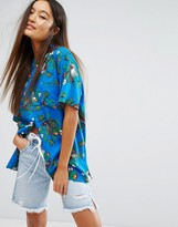 Obey Short Sleeve Boyfriend Shirt In Hawaiian Print